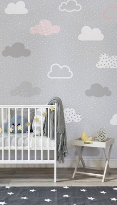 baby wallpaper Effortlessly chic, this nursery space balances neutral greys with lively pops of golden yellow. Illustrated clouds drift along in this beautiful wallpaper design. Its a timeless pattern that will look just as stylish for years to come. Baby Room Design, Baby Room Decor, Nursery Design, Bedroom Decor, Clouds Nursery, Cloud Nursery Decor, Calming Nursery, Cloud Bedroom, Nursery Wall Murals