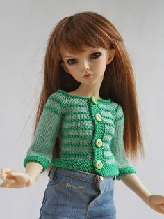 #14-in #Doll #outfit, #sweater for #BJDdolls, #CLOTHES for #iplehouse #KID, #jacket for #Minifee, #handmade #knitting #cardigan #sweater for dolls  #13InchDolls #Knit