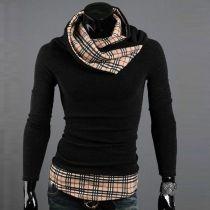Plaid Men Slim Long Sleeve Turtleneck Knitwear Sweater Jumper Pullover Shirts
