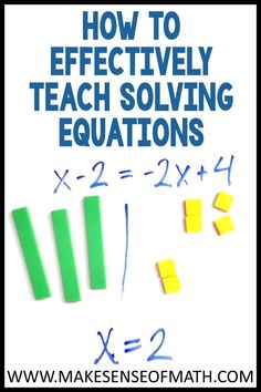 Check out the best methods for how to teach solving equations. Includes the use of Algebra tiles, and making sense of one step equations and equations with variables on both sides. Perfect for the 6th grade math, 7th grade math, 8th grade math, Algebra, and middle school math teachers. Great and effective strategies to use in your middle school math classroom today. Algebra Games, Fun Math Activities, Math Lesson Plans, Math Lessons, Seventh Grade Math, Solving Linear Equations, Teaching Math, Teaching Ideas, Math Classroom