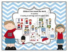 Kids From Around the World from Preschool Printables on TeachersNotebook.com -  (24 pages)  - Kids representing 21 Countries- Puppet Sticks of Kids 1 large card with kid-country-flag