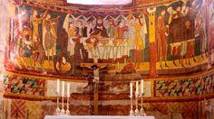 Romanesque fresco of the martyrdom of St John the Baptist in Müstair Carolingian, Medieval Paintings, John The Baptist, Romanesque, Fresco, Switzerland, Art, Art Background, Fresh