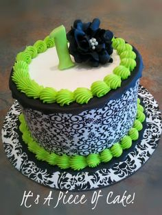 black and white damask baby shower | was given the directions of black, white, and lime green, and this ...
