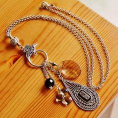 Reclaimed vintage charm dangle pendant necklace boho chic by jarka