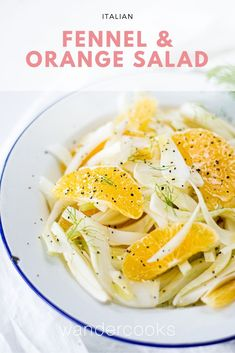 This juicy Italian fennel and orange salad with cracked pepper is the perfect side dish, or enjoy it as a refreshing winter salad for lunch or dinner! Salad Dressing Recipes, Easy Salad Recipes, Easy Salads, Easy Meals, Veggie Recipes, Healthy Italian Recipes, Asian Recipes, Ethnic Recipes, Savoury Recipes
