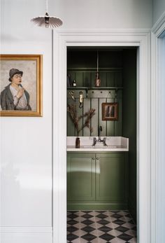 color story: going green. / sfgirlbybay washroom with green walls and cabinetry and portrait painting in hallway. Bathroom Inspiration, Interior Inspiration, Interior Ideas, Interior Styling, Design Inspiration, Country Look, Checkered Floors, Victorian Cottage, Best Interior Design