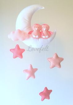Baby mobile Moon mobile Baby crib mobile by lovefeltmobiles