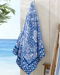 Textured Mosaic Beach Towel: This Ralph Lauren Home generously sized blue and white beach towel is crafted from plush, highly absorbent cotton terry and features a bold mosaic pattern.