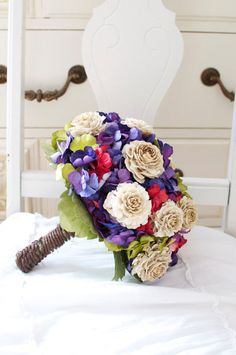 Retro red green and purple wedding bouquet by AlternativeBlooms, $175.00