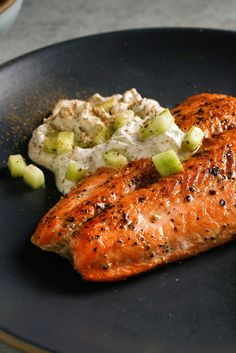 NYT Cooking: With its rich flesh, salmon is so strongly flavored that you can pair it with just about anything. Here I cook it with a yogurt sauce that contains just chopped cucumber and spices. If you use farmed salmon and a nonstick skillet, you won't even need to add any fat. That's because farmed salmon is so high in fat (fattier than wild salmon, and it's the beneficial%...