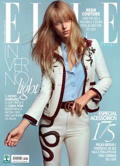 Hannah Ferguson wears a Gucci pantsuit on ELLE Brazil Magazine April 2016 Cover