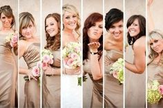 Love this. Shows each bridesmaid and they get to chose their own pose. Great way to showcase their different personalities.