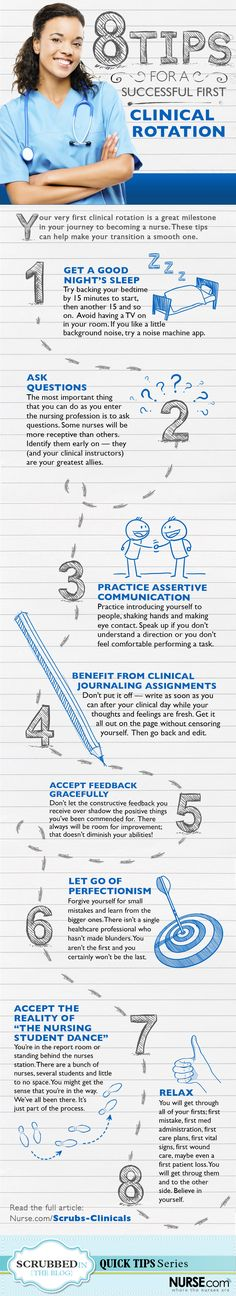 For all of you who are new to the world of nursing, welcome! Get started with these 8 Tips for a Successful Clinical Rotation infographic.