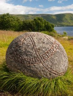 Carved Viking stone with runes at Borg Museum, Lofoten, Norway Photo credit © Zbynek Burival iStockphoto