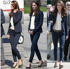 Kate Middleton wearing J Brand 811 skinny jeans in luxe navy twill, a ruffled blouse presumably by Ralph Lauren, a navy one-button blazer by Canadian Brand, Smythe, and black slingback espadrilles wedge shoes by Spanish brand, Pied a Terre.
