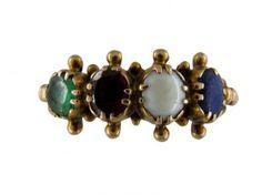 Georgian Multi Stone Ring Which Spells LOVE  Georgian (1714 - 1830)  A beautiful, romantic ring with four gemstones spelling LOVE. L - Lapis Lazuli, O - Opal, V - Vermeuil, E - Emerald.