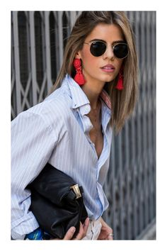 Spring outfits Archives - Now Outfits Tassel Earrings Outfit, Statement Earrings Outfit, Big Earrings, Mango Earrings, Fashion Week, Look Fashion, Fashion Outfits, Womens Fashion, Fashion Clothes