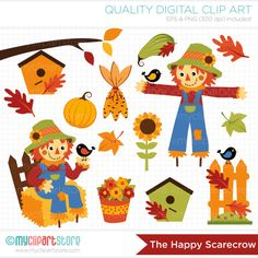 Clipart  Happy Scarecrow / Fall / Autumn / by MyClipArtStore