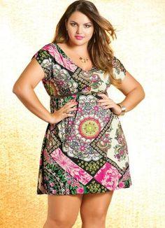 Vestido Estampa de Lenço Quintess - Moda Feminina Vestido Vestido Curto Plus Size Feminino - Quintess - Moda Feminina