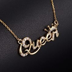 Buy Gold Plated Queen Pendant Necklace Queen Jewelry at Wish - Shopping Made Fun Stylish Jewelry, Cute Jewelry, Necklace Sizes, Pendant Necklace, Jewelery, Jewelry Necklaces, Necklace Packaging, Ankle Jewelry, Gold Plated Necklace