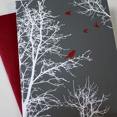 Three colors, yet it says so much! What a beautiful card... by InkDropDesign but found on Moxie Fab World