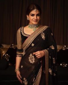 Raveena Tondon In An Embroidered Saree Dress Indian Style, Indian Dresses, Indian Outfits, Indian Clothes, Trendy Sarees, Stylish Sarees, Indian Attire, Indian Wear, Sari Bluse