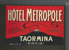 ETICHETTA STICKER LABEL HOTEL ALBERGO ( tipo cartolina ) TAORMINA MESSINA ETNA | eBay