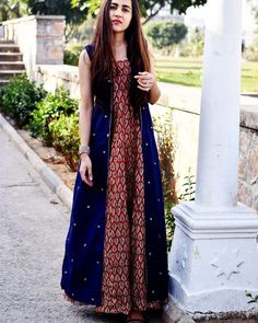 "thing This blue. Is my fav blue …"" Pakistani Dresses, Indian Dresses, Indian Outfits, Ethnic Dress, Indian Ethnic Wear, Casual Dresses, Fashion Dresses, Kurta Designs, Indian Attire"