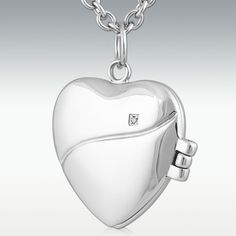 Glint Heart Locket Stainless Steel Jewelry -Engravable