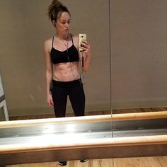 Caity Lotz - Good lighting is key to #abs photos