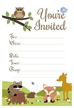 Woodland Animals Baby Shower or Birthday Invitations - Fi…