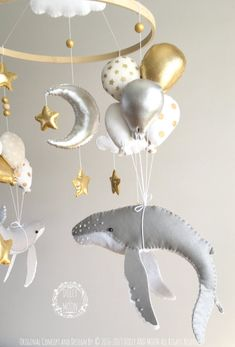 Whale baby mobile whale nursery mobile whale balloon mobile flying whale mobile nautical nursery decor star baby mobile moon mobile - My Website 2020 Whale Mobile, Baby Mobile, Mobiles, Whale Nursery, Nautical Nursery Decor, Fabric Stars, Diy Bebe, Gold Paint, Baby Gifts
