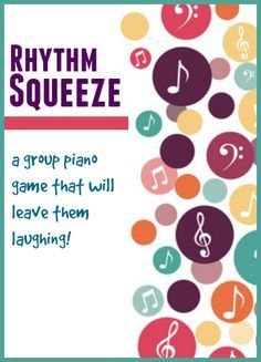 Rhythm Squeeze Group Piano Game -- instead of holding hands, pat on back and ask others not to watch. Use themed object instead of bean bag. For next group lesson.