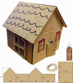 Art Projects for Kids: Little Cardboard Houses. Precut the corrugated cardboard house shapes and then let kids go to town, so to speak. Could make this into gingerbread house with Pom poms gems beads etc Recycled Art Projects, Arts And Crafts Projects, School Projects, Projects For Kids, Kids Crafts, Home Crafts, Cardboard Sculpture, Cardboard Crafts, Cardboard Houses For Kids