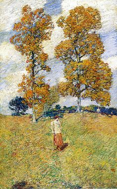 The Two Hickory Trees, aka Golf Player,  Frederick Childe Hassam.  American Impressionist Painter (1859-1935)