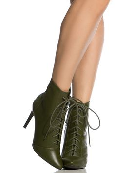 Olive Faux Leather Lace Up Pointed Toe Booties @ Cicihot. Booties spell style, so if you want to show what you're made of, pick up a pair. Have fun experimenting with all we have to offer!