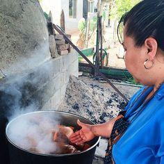 Doña Esthela prepping pumpkins for the day's empanadas // #theotherpath #valledeguadalupe #baja #mexico