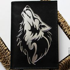 Купить Волк. Обложка на паспорт. - черный, волк, волки, обложка, обложка из кожи, обложка на паспорт