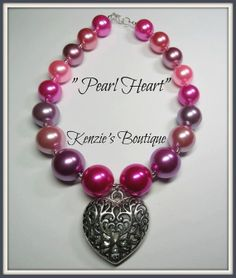 Pearl Heart Chunky Beaded Necklace Child / by KenziesBoutique1, $14.49