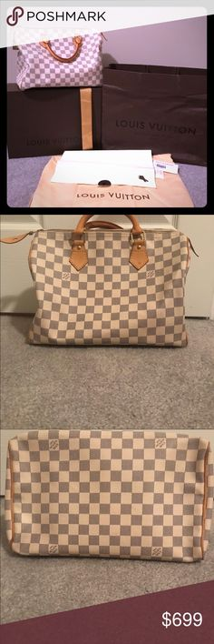 1ca6bdf6a9b6 Louis Vuitton Damier speedy 30 w box duster lock Authentic bag with light  vachetta. Canvas is very good. Wear on piping and a few marks inside Louis  Vuitton ...