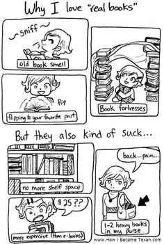 "Cartoon: Why I love ""real books"" but they also kind of suck..."