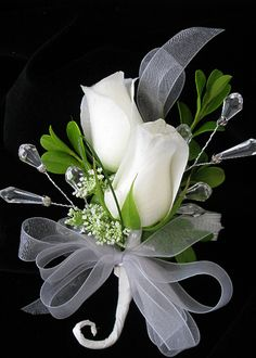white rose corsage, I like the jewels that were added! Rose Wedding Bouquet, White Wedding Bouquets, Bride Bouquets, Floral Wedding, Wrist Corsage Wedding, Prom Flowers, Bridal Flowers, White Flowers, Raindrops And Roses