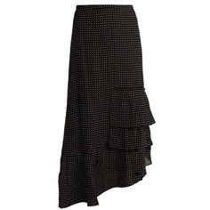Tibi Ruffled star-print silk skirt (€435) ❤ liked on Polyvore featuring black multi and tibi