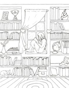 Solitude Lineart by ~KayQy on deviantART girl reading book librarythis would make a really cool embroidery pattern. Solitude Lineart by ~KayQy on deviantART'Book Nook' Adult Color PageiColor The Doorway Age Reading booksIf someone is daring enough to Free Adult Coloring, Printable Adult Coloring Pages, Cute Coloring Pages, Coloring Books, Coloring Sheets, Book Drawing, House Drawing, Colorful Pictures, Sketchbooks