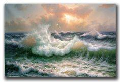beautiful sea,waves and rocks on beach paintings - Google Search