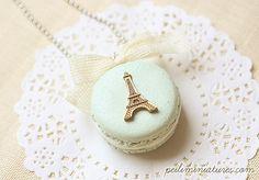 Macaron Eiffel Tower Necklace  Macaron by miniaturepatisserie, $31.90