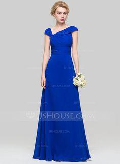 A-Line/Princess V-neck Floor-Length Ruffle Zipper Up Cap Straps Sleeveless No Royal Blue Spring Summer Fall General Plus Chiffon Evening Dress