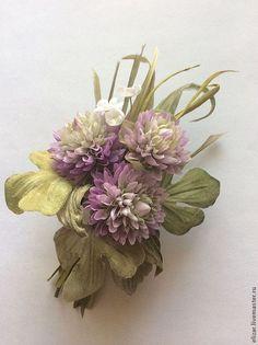 Купить Клевер - бледно-сиреневый, клевер, цветы из ткани, цветы из шелка, шелковые цветы, шелк