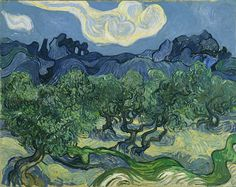 "Olive Trees in a Mountainous Landscape, Saint-Remy, France, June 1889.  ""I did a landscape with olive trees and also a new study of a starry sky..."" - Vincent van Gogh in a letter to Theo van Gogh, discussing Olive Trees in a Mountainous Landscape and The Starry Night."