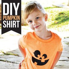 DIY pumpkin shirt... could have different eye, nose, mouth, etc., and let kids build their own pumpkin...